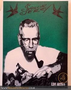 Sailor Jerry stencil canvas by LDN ARTS for