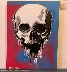 Skull stencil canvas by LDN ARTS for