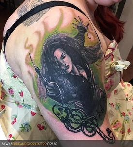 Bellatrix Lestrange Harry Potter themed realistic black and grey portrait dark mark slytherin tattoo by Chessie Clear at Pride and Glory tattoo studio, Leigh-on-sea, Essex, UK