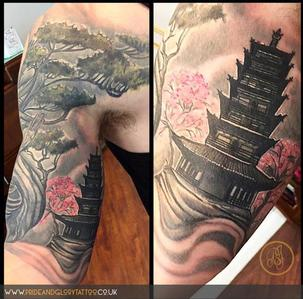 Black and grey bonsai tree and temple realistic tattoo by Chessie Clear at Pride and Glory tattoo studio, Leigh-on-sea, Essex, UK