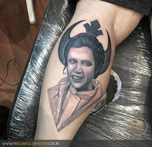 Black and grey Carrie Fisher Princess Leia dotwork portrait tattoo by Chessie Clear at Pride and Glory tattoo studio, Leigh-on-sea, Essex, UK