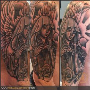 Black and grey half sleeve angel religious tattoo by Chessie Clear at Pride & Glory tattoo studio, Leigh-on-sea Essex.