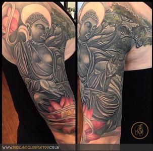 Black and grey Japanese inspired Buddha and lotus half sleeve tattoo by Chessie Clear at Pride & Glory tattoo studio, Leigh-on-sea, Essex, UK