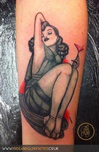Black and grey pink cocktail pin up girl tattoo