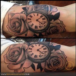 Black and grey pocket watch and roses tattoo by Chessie at Pride & Glory