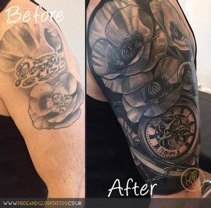 Black and grey realistic poppies and pocket watch half sleeve cover up tattoo by Chessie Clear at Pride & Glory tattoo studio, Leigh-on-sea, Essex, UK