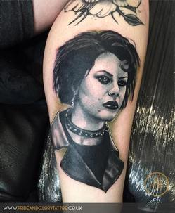 Black and grey realistic portrait tattoo of Nancy from the cult film The Craft by Chessie Clear at Pride & Glory tattoo studio, Leigh-on-sea, Essex, UK