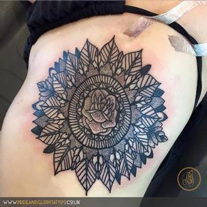 black work rose mandala tattoo by Chessie Clear, at Pride and Glory tattoo studio, Leigh-on-sea Essex. UK