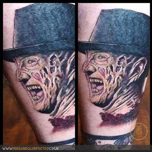 Colour realistic Freddy Krueger portrait by Sarah Wood at Pride and Glory tattoo studio, Leigh-on-sea, Essex, UK