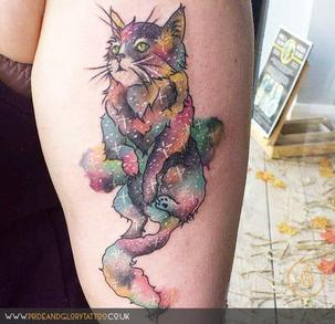 Cosmic galaxy watercolour cat tattoo, by Sarah Wood, at Pride & Glory tattoo studio, Leigh-on-sea, Essex, UK