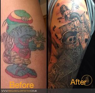 Cover up tattoo pirate cartoon sleeve