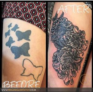 Cover up thigh tattoo with neo traditional chrysanthemum flowers by Chessie Clear at Pride and Glory tattoo studio, Leigh-on-sea, Essex, UK