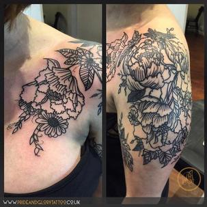 Custom black work floral tattoo by Chessie Clear at Pride and Glory tattoo studio, Leigh-on-sea, Essex, UK.