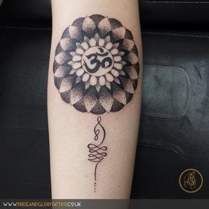 Dotwork mandala and OM tattoo design by Sarah Wood at Pride and Glory in Leigh-on-sea, Essex, UK