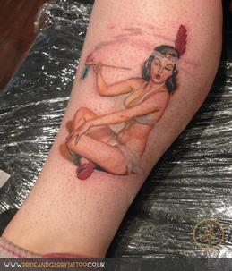 Elvgren Indian pin up girl tattoo By Chessie at Pride & Glory