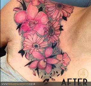 Finished flower cover up tattoo by Chessie Clear at Pride & Glory tattoo studio, Leigh-on-sea Essex