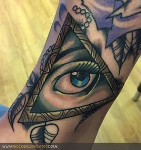 Neo-traditional all-seeing eye tattoo by Billy