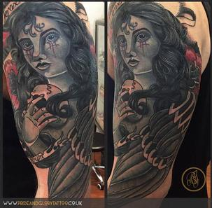 Neo traditional angel of death statue and roses half sleeve tattoo by Chessie Clear at Pride and Glory tattoo studio, Leigh-on-sea, Essex, UK