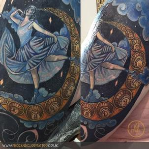 Neo traditional Art deco inspired moonlight dancer and moon colour tattoo by Chessie Clear at Pride and Glory tattoo studio, Leigh-on-sea, Essex. UK