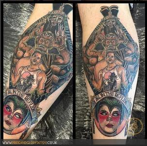Neo traditional Big Trouble in little China tattoo, by Chessie Clear at Pride and Glory tattoo studio, Leigh-on-sea, Essex. UK