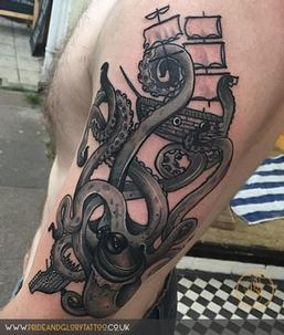Neo traditional black and grey kraken and ship tattoo, by Chessie Clear at Pride and Glory tattoo studio,