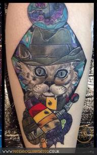 Neo traditional Dr. Who cat tattoo by Chessie at Pride & Glory tattoo studio, Leigh-on-sea Essex.