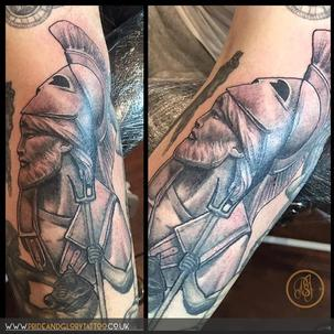 Neo Traditional Hoplite soldier bust added to ongoing Greek Mythology sleeve tattoo being worked on by Chessie Clear at Pride and Glory tattoo studio, Leigh-on-sea Essex UK.