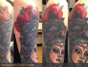 Neo traditional lady head crown and roses