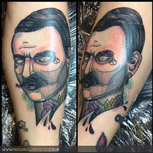 Neo Traditional mustache man by Chessie at Pride & Glory