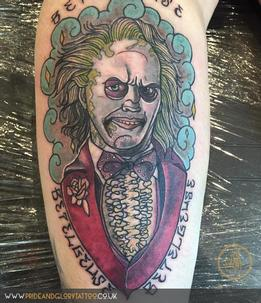 Neo traditional portrait Beetlejuice tattoo by Chessie Clear at Pride and glory tattoo studio, Leigh-on-sea Essex, Uk.