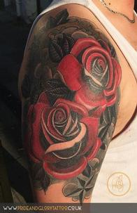 Neo traditional roses cover up tattoo half sleeve, by Chessie Clear at Pride and Glory tattoo studio, Leigh-on-sea, Essex. UK