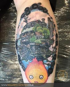 Neo traditional Studio Ghibli Howl's Moving castle calf tattoo by Chessie Clear at Pride and Glory tattoo studio, Leigh-on-sea, Essex. UK