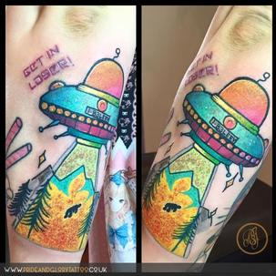 Neo traditional Ufo tattoo by Chessie Clear at Pride and Glory tattoo studio Leigh-on-sea Essex. UK