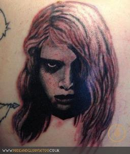 Night of the Living Dead portrait tattoo