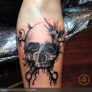 Paint effect skull tattoo by Chessie at Pride & Glory tattoo studio, Leigh-on-sea Essex.