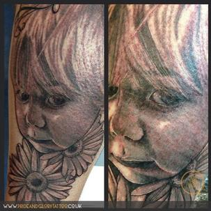 Portrait tattoo by Chessie at Pride & Glory.