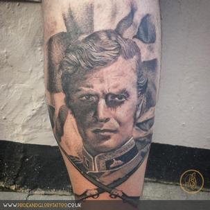 Realistic Black and Grey Micheal Caine portrait tattoo by Sarah Wood at Pride and Glory tattoo studio in Leigh-on-sea, Essex UK