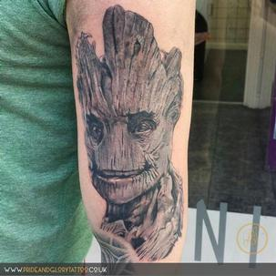 Realistic portrait Groot Guardian's of the Galaxy black and grey tattoo by Sarah Wood at Pride and Glory tattoo studio, Leigh-on-sea, Essex. UK