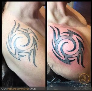 Rework of an old tribal tattoo, made new by Chessie Clear at Pride and Glory tattoo studio, Leigh-on-sea Essex. UK