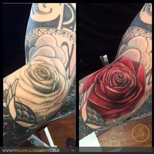 Rework realistic rose cover up tattoo by Chessie Clear at Pride & Glory tattoo studio, Leigh-on-sea Essex. UK