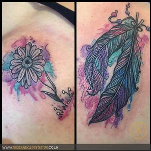 Small and cute girly watercolour feather and daisy tattoo by Chessie Clear at Pride and Glory tattoo studio, Leigh-on-sea, Essex, UK