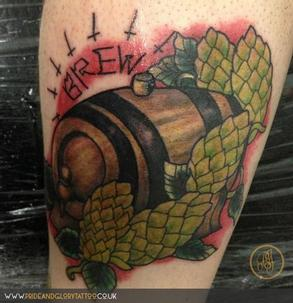 Traditional ale and beer keg tattoo