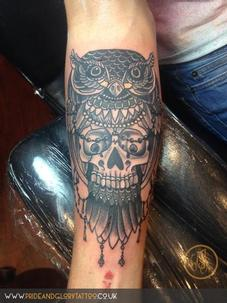 Traditional Owl and Skull Tattoo