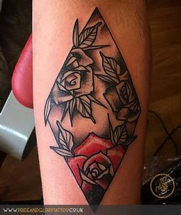 Traditional roses and diamond tattoo design by Billy