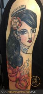 Traditional sailor lady head pin up tattoo