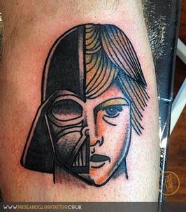 Traditional Star Wars tattoo designed by our apprentice Adam and tattooed by Chessie, at Pride & Glory tattoo studio Leigh-on-sea Essex.