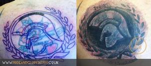 Trojan stone realism black and grey cover up tattoo