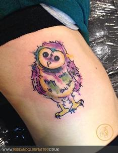 Water colour owl tattoo by Chessie at Pride & Glory