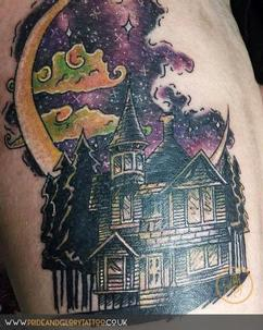 Watercolour and blackwork Haunted House by Sarah Wood at Pride and Glory tattoo studio in Leigh-on-sea, Essex, UK