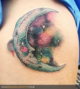 Watercolour galaxy moon tattoo by Sarah Wood at Pride and Glory in Leigh-on-sea, Essex, UK